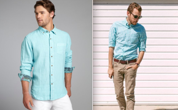 What do i wear with a turquoise shirt quora for Khaki pants light blue shirt