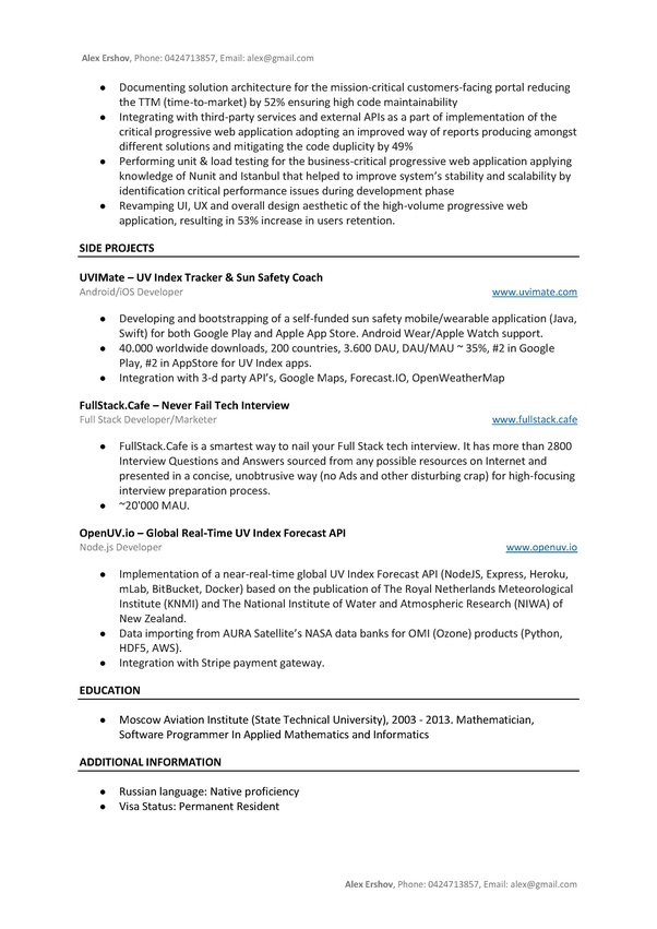 What Will I Need On My Resume For A Full Stack Web Developer Job