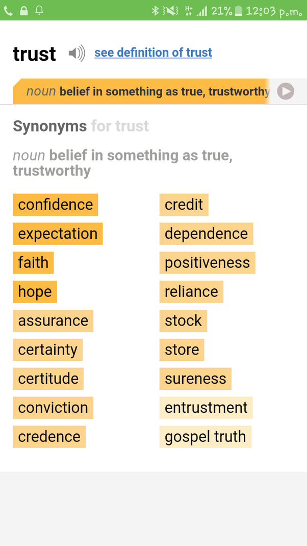 What is the difference between trust and faith? - Quora