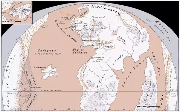How big is middle earth compared to a real world continent quora as you can see the northwest of middle earth what is covered in the books and movies is a small piece of the whole world gumiabroncs Gallery