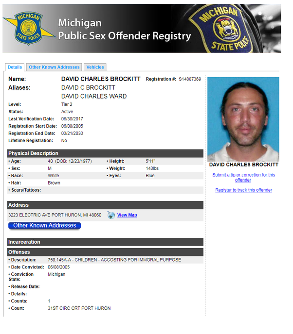 State police sexual offender registry michigan
