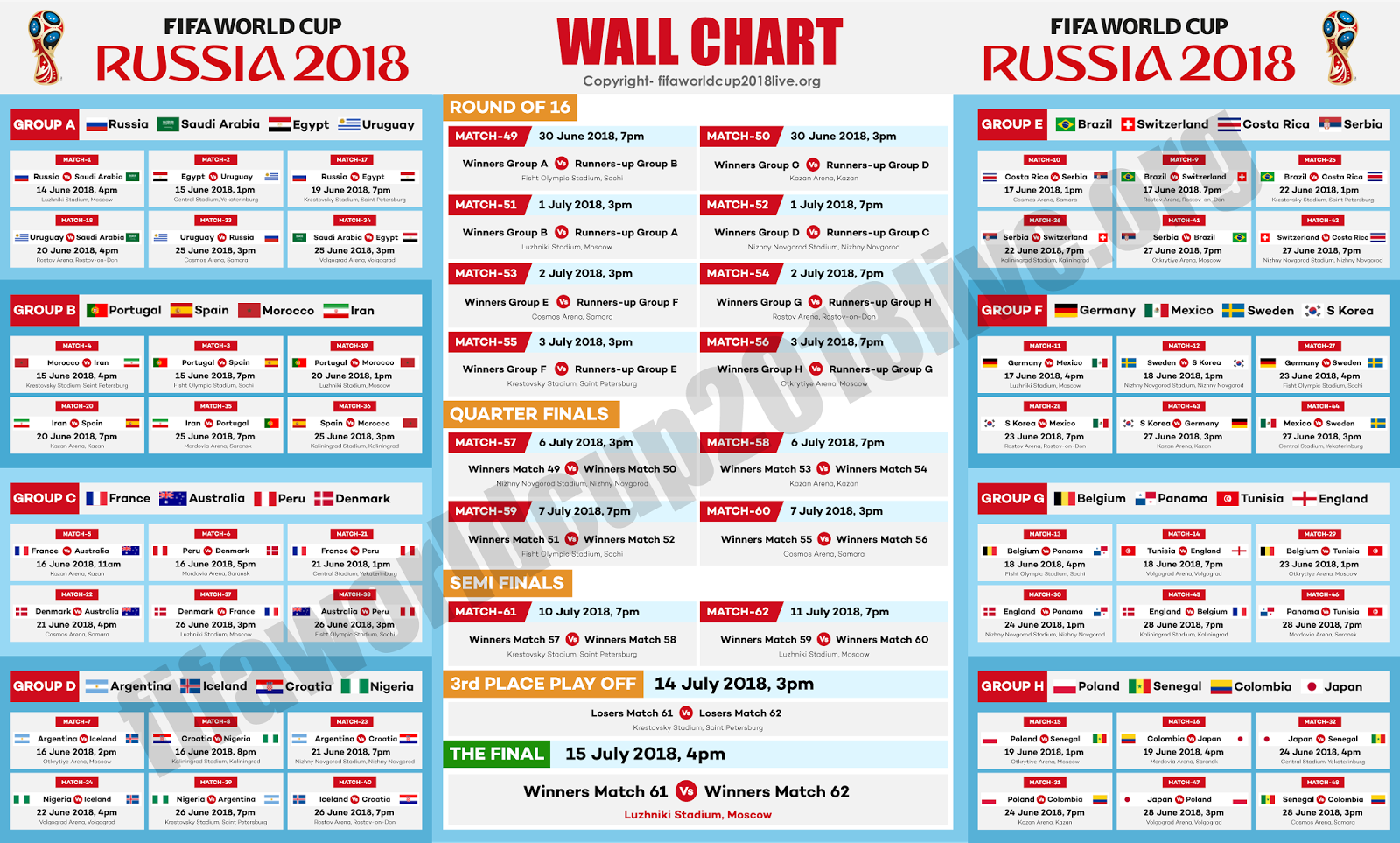 world cup games today schedule