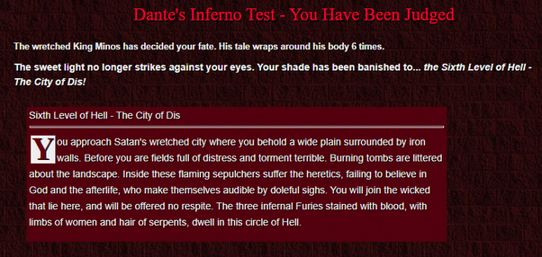 What Were Your Results On The 4 Degrees Dante S Inferno Test