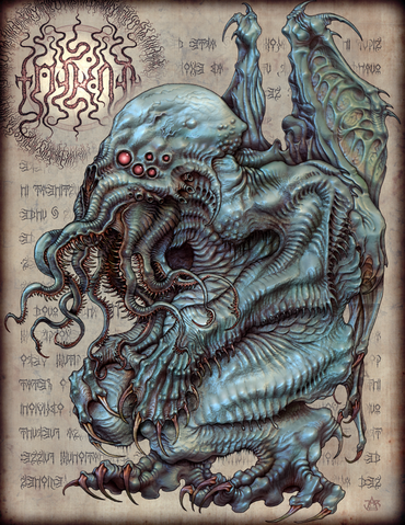 Anyway Cthulhu Is Seen As A Giant Monster With Tentacles Protruding From Its Mouth