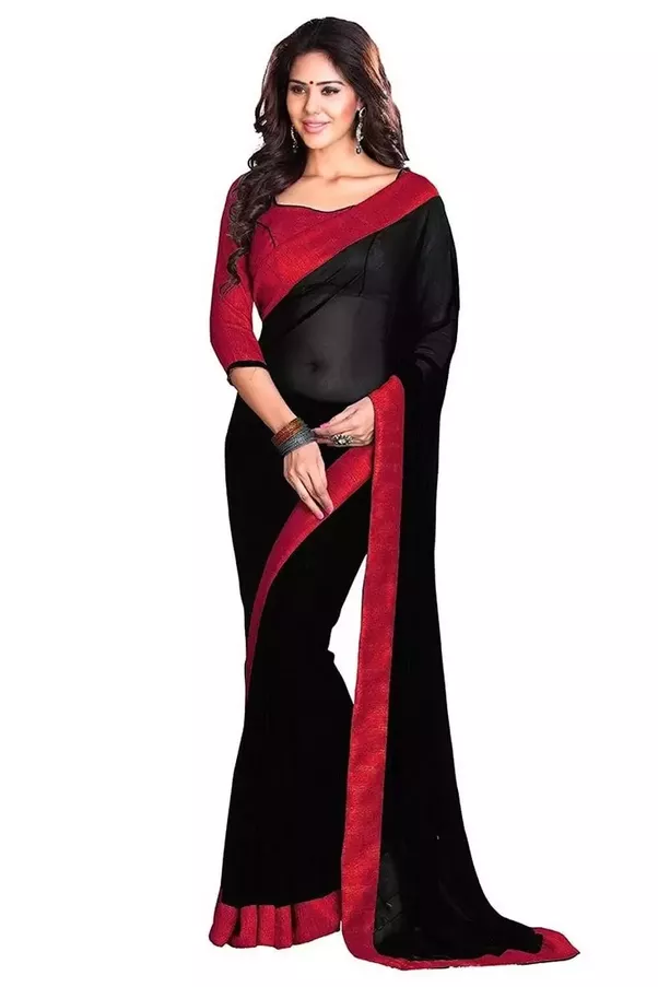 e997d42c38136 Red blouse paired with a black saree is a very beautiful combination. Red  blouse can be very ethnic and simple. You will look stunning in that  combination.