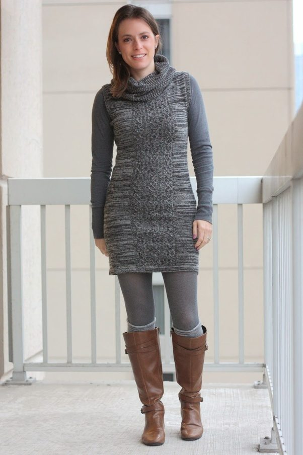 Grey Sweater Dress With Boots Photo Dress Wallpaper Hd Aorg