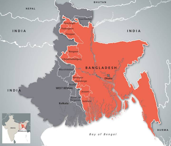When Bengal is in the east, why is it called West Bengal