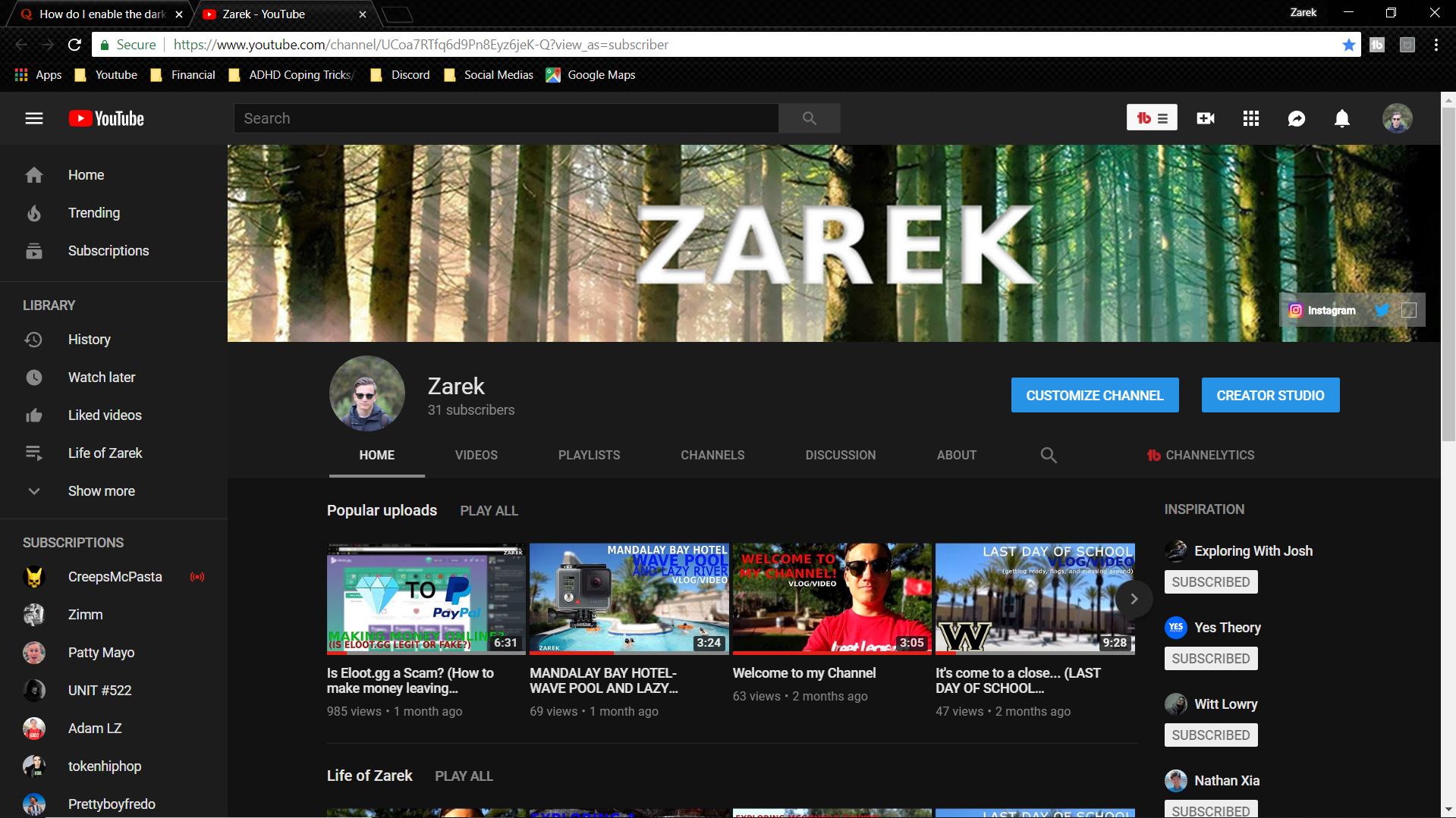 dark theme for youtube pc