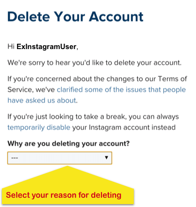 Is that possible to delete the instagram account on android phone next to why are you deleting your account select the reason for deleting your instagram account from the options in the dropdown ccuart Choice Image