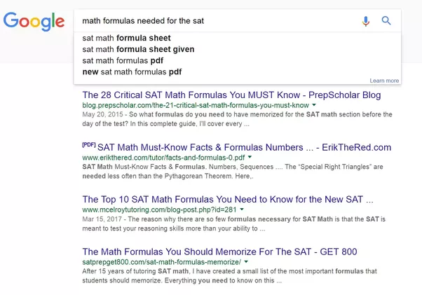 What are all of the math formulas that I have to know for the SAT ...