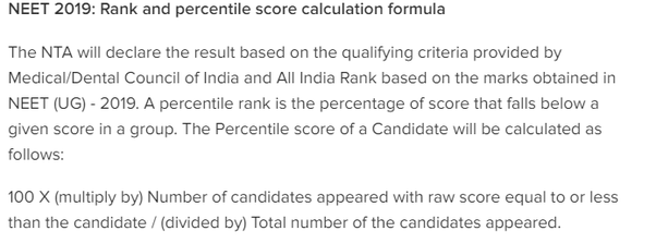 Will the NTA release the NEET results in the percentile as