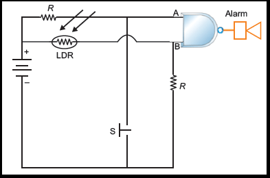 does ldr (light dependent resistor) act a an and gate in a burglarcircuit diagram of burglar alarm according to this diagram, is the ldr used a an and gate? or as an on or off switch?