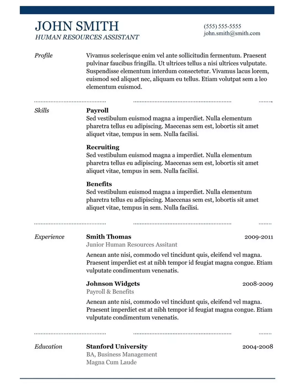 where can i copy a resume template