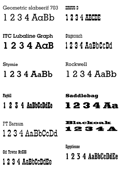 The Predecessors Of These Slab Serif Fonts Are Many Typefaces In Use During 1800 Were Made And Printed With Wood Type Metal