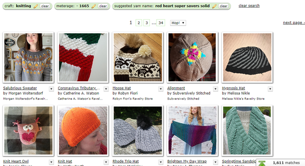 Screenshot from Ravelry pattern  search, limited by metres and yarn name.  The first 10 patterns of 1,611 are shown.