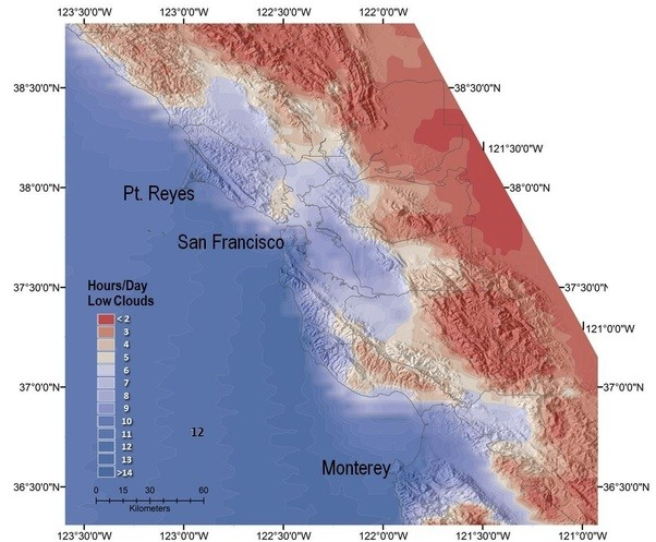 san francisco fog map satellite imagery can be used to make an average coverage map but the problem is the differentiation of fog and marine stratus