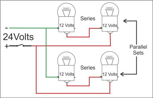 How to wire 12-volt lights to a 24-volt system - Quora  Volt Series Wiring Diagram on 12 volt battery bank wiring, 12 volt solenoid wiring diagram, 12 volt wiring systems, 12 volt alternator wiring diagram, 12 volt solar wiring diagram, 12 volt battery in series diagram, 12 volt rv wiring diagram, pinout diagrams,
