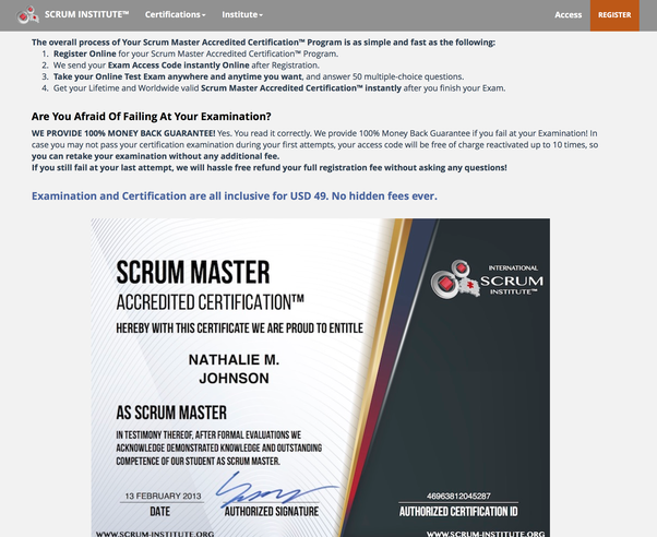 has anyone completed certification in international scrum institute