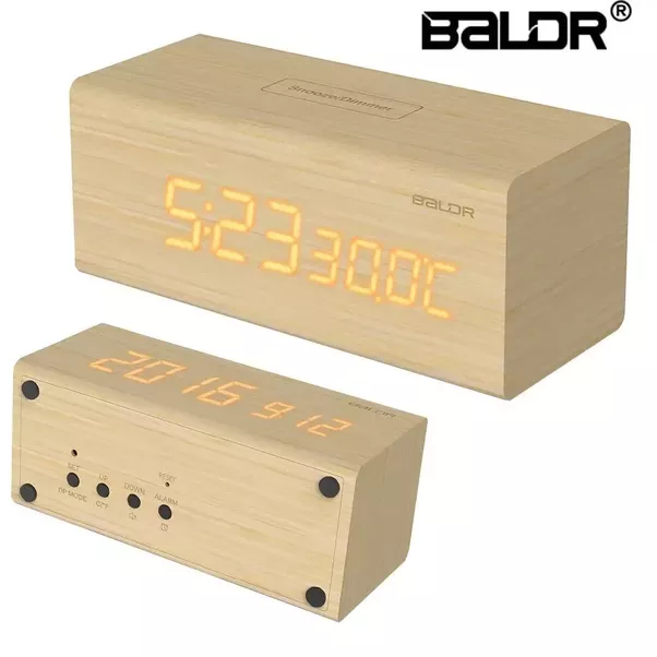 Baldr Design Led Real Wood Alarm Clock Wooden Digital With Battery Back Up Dimmable Touch Snooze Temperature Calendar Display
