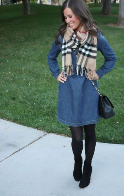 How to wear a denim dress in the winter - Quora