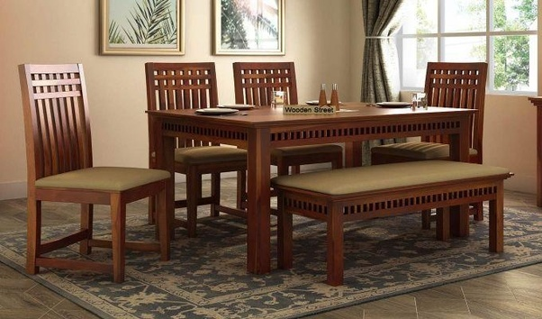 Have A Glance At Adolph 6 Seater Dining Set With Bench! Yes, It Has A Bench  With 4 Dining Chairs And A Solid Dining Table.
