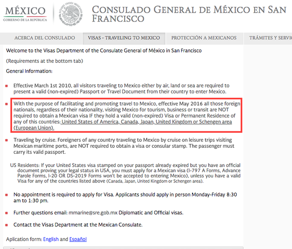Does an Indian citizen with a valid US visa need a Mexican