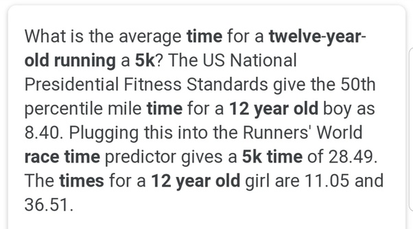What is the average time for a twelve-year-old running a 5k? - Quora
