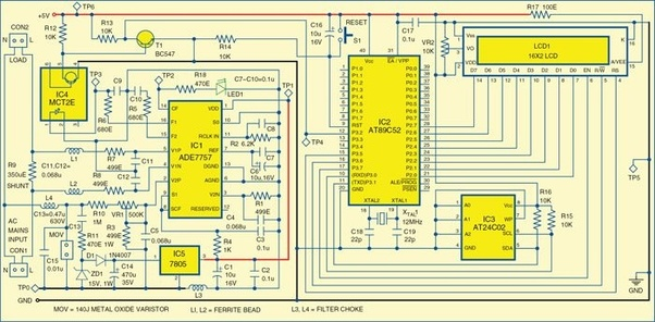 What Is The Circuit Diagram For Digital Electricity Meter