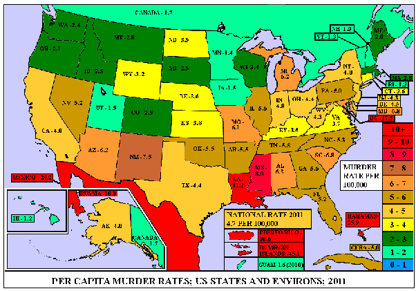 as you can see in the map above states vary from uk like crime levels to war zone like crime levels