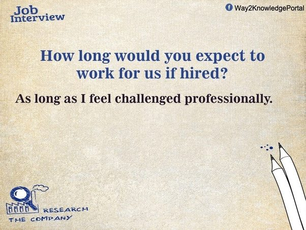 How Long Would You Expect To Work For Us If Hired? Describe Your Dream Job?