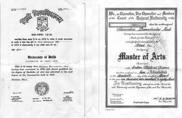 What are Narendra Modi's educational qualifications? - Quora