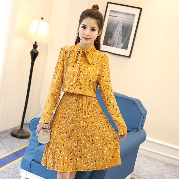 NARENDRA ETHNIC LAYER MINI DRESS NAVY BLUE. Yellow is the IT color, and the mustard yellow combination is unusually hot for spring
