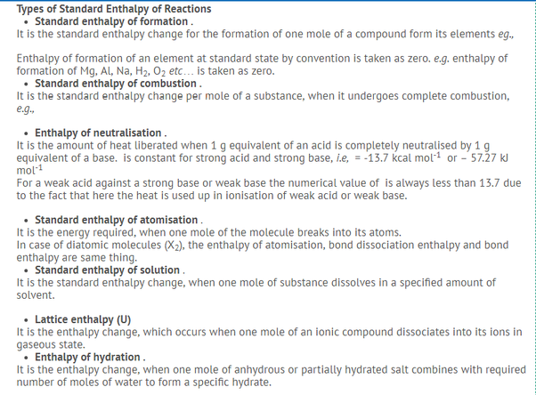 What Is A List Of All The Enthalpies Chemistry With Proper
