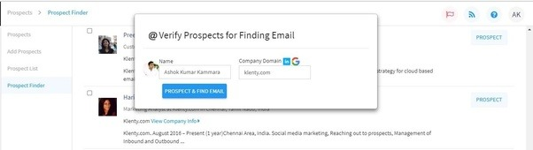 Find Prospects From Social Platforms Such As LinkedIn And Directly Import  Them Into Klenty Along With Their Official Email Ids Using The Prospect  Finder ...