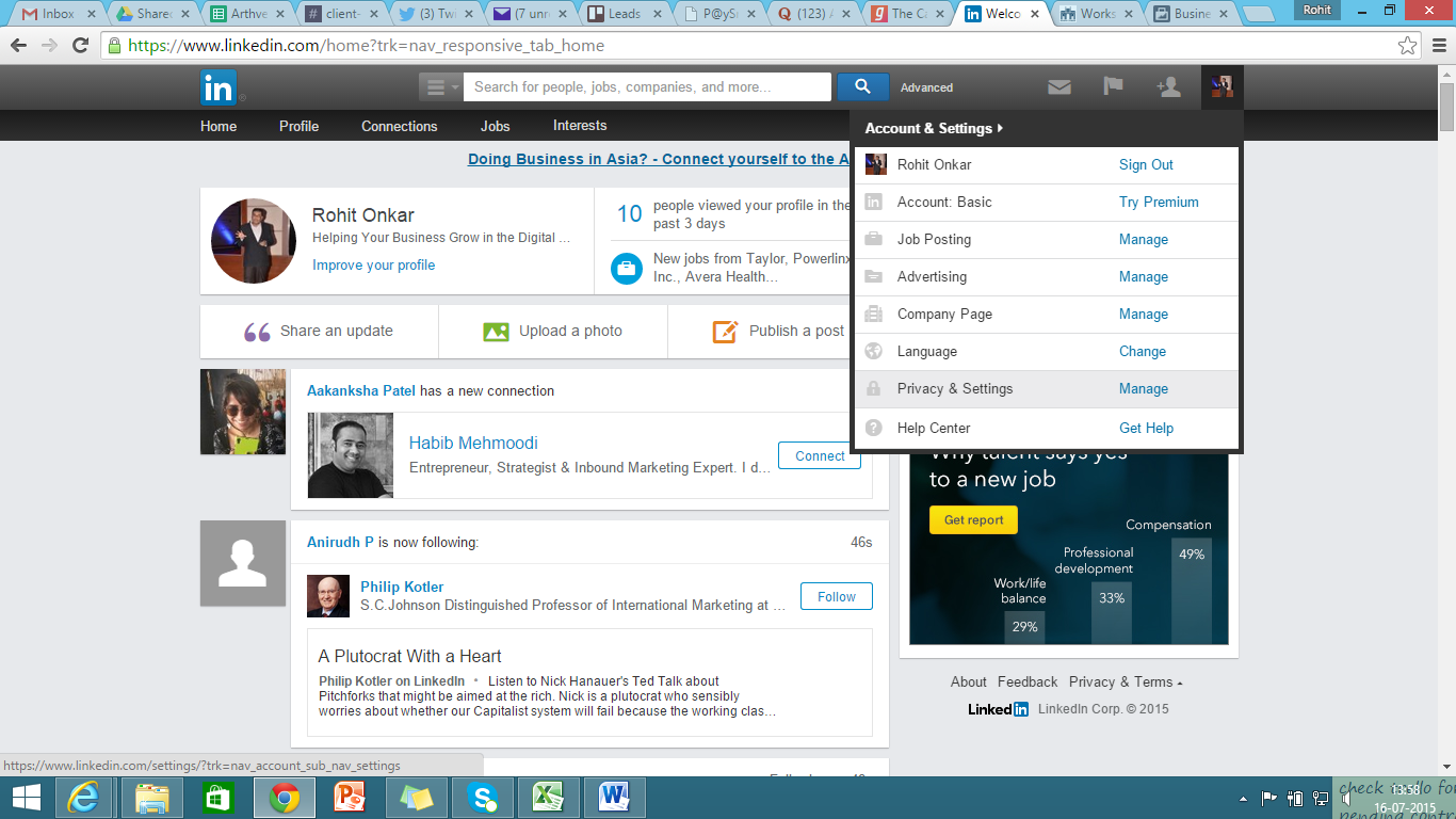 Go to privacy and settings from your LinkedIn home page