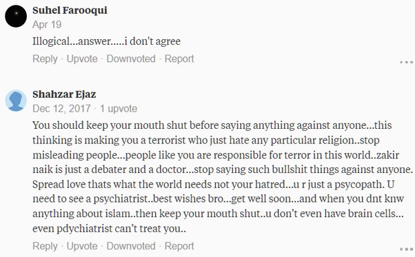 What was the most non-logical comment you've received on your Quora