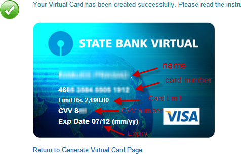 is it possible to add sbi virtual card visa card generated from the online banking portal to the facebook account - Virtual Visa Card