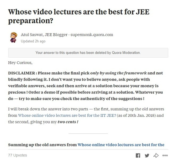 Whose video lectures are the best for JEE preparation? - Quora