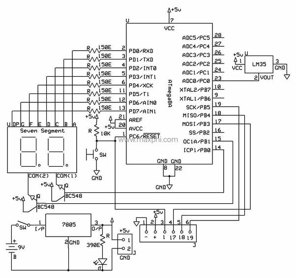 how to interface temperature sensor with two 7 segment led