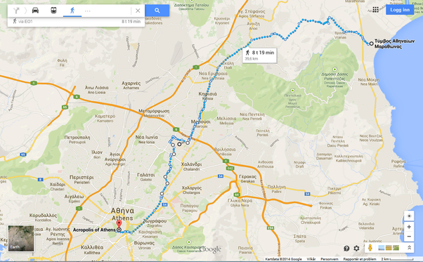 What Is The Best Running Route From Marathon To Athens Quora - Google maps jogging route