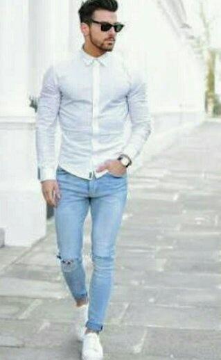 blue shirt on blue jeans