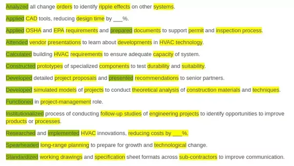 what are the best resume key words for mechanical engineer quora