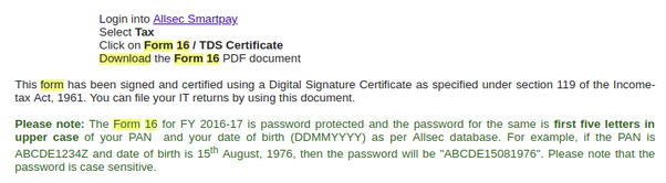 What is the default password for Form 16 downloaded from