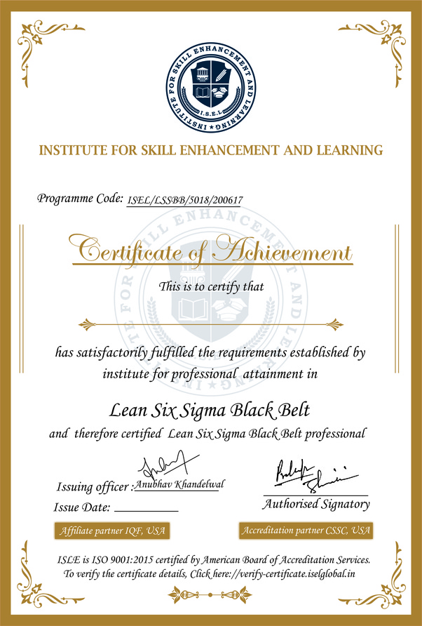 What Is Your View On The Isel Lean Six Sigma Black Belt