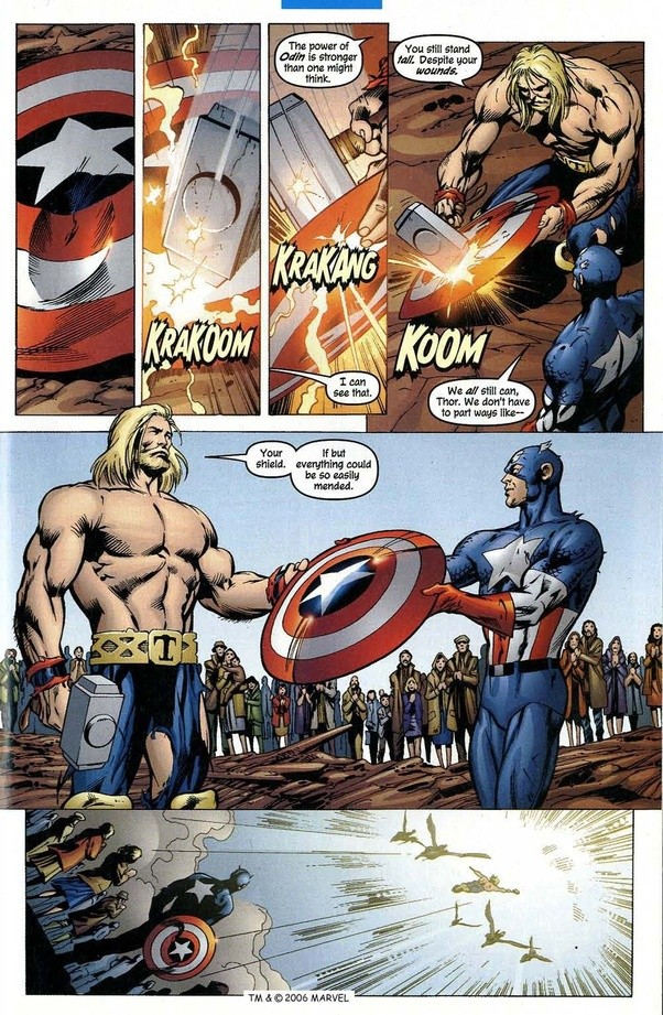 Could Thor break Captain America's shield, if the hammer ...