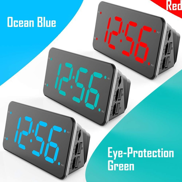 Deaf /& Hearing Impaired Full Range Dimmer 7-Inch Display Bed Shaker Loud Alarm Clock for Heavy Sleepers Dual Alarm Digital Clock with 2 USB Charger Ocean Blue