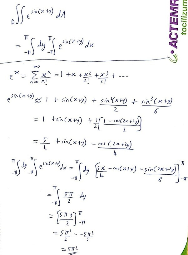 How to solve double integral of e^sin(x + y) - Quora