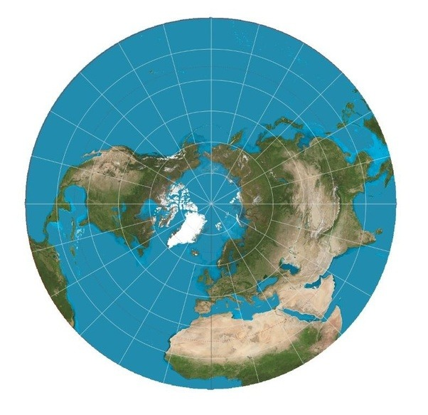 It Is Somewhat Recognizable In The Center (northern Hemisphere) Because It  Is Like Looking Down On The Earth From Above The North Pole.
