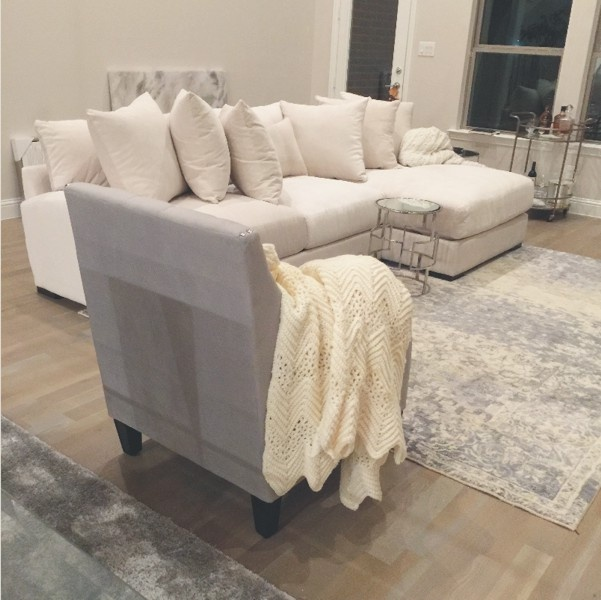 Image Of Stella Sectional Couch In Gypsy Creme With Left Chaise And Mirage Stainless Steel Floating Gl Table Z Gallerie Br Drink Cart White