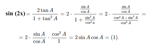 What Are The Formulas Of Sin 2x Quora